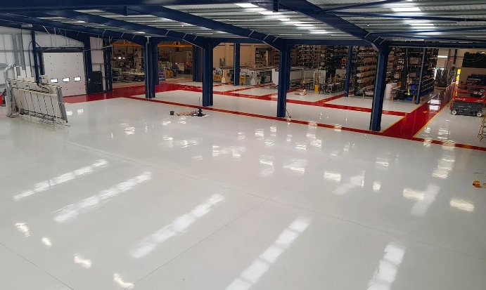 White resin floor