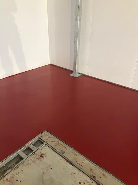 resin floor at meat facility corner
